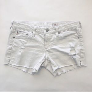 AG White Distressed Fray Jean Shorts Size 28